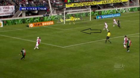 Bij een voorzet van de vleugel staat de verdediging van Ajax regelmatig te schutteren.