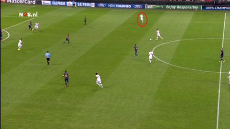 De veldbezetting van AC Milan bij balbezit. Rechtsback Abate is ver mee opgekomen, net als de op deze afbeelding niet zichtbare linksback. De meest creatieve middenvelder is in balbezit.