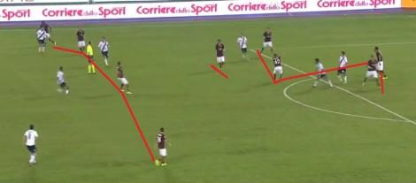 Mehdi Benatia kopt een voorzet weg. Roma staat met 3-0 voor tegen Bologna en heeft toch de tactische discipline om met 10 man achter de bal te komen. Alleen Totti blijft voorin,