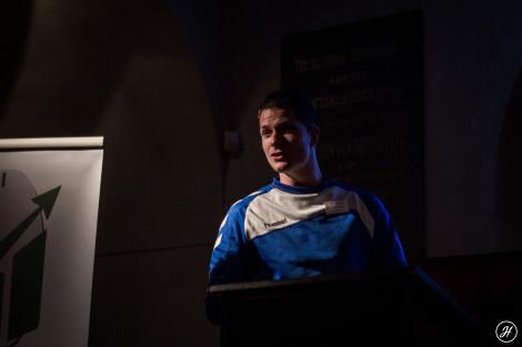 Heuvingh tijdens zijn presentatie.