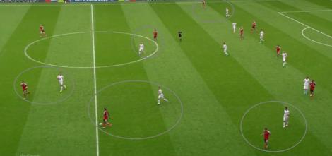 De mandekking in zone van Hongarije in beeld. Iedere Hongaar pakt de speler op die in zijn zone opduikt.